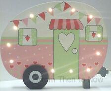 Chic Shabby Caravan Camping Camper Van LED Light Up Wooden Plaque Vintage Pink