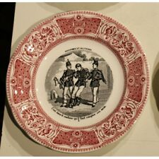 """Vintage 20th French Original Earthenware Plates """"Proverbs and military"""" by GIEN"""
