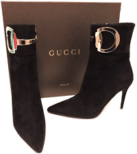 Gucci Black Rooney Horsebit Ankle Suede Pointy Toe BOOTS BOOTIES 36.5- 6.5