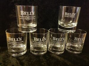 SET OF 6 MATCHING-BELL'S WHISKY GLASSES-8 YEARS STYLE-COLLECTORS GLASS-SCOTCH