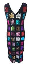 Karen Millen Sequin Dress Size 10 Multicoloured Bodycon Midi Party Cocktail