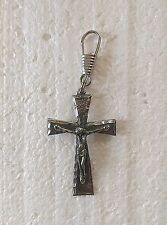 "(LO61) JESUS ON THE CROSS Pewter ZIPPER PULL 1-3/4"" x 1-1/4"" Biker Vest"