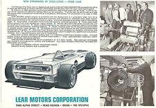 Lear  Single Sheet  Lear Vapordyne  Race Car  Circa 1969