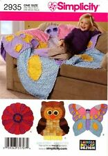 Simplicity Sewing Pattern 2935 Rag Quilts Owl Butterfly Flower - throw quilting