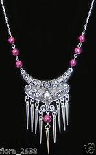 Superbe COLLIER Style ancien, chaîne, breloques et perles bijoux fantaisie neuf.