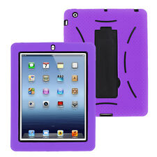 purple hybrid case rugged shockproof full cover body skin for apple ipad 2 3 4