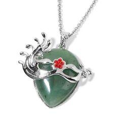 AVENTURINA verde y rojo de cristal austriaco colgante de máscara con cadena (tamaño 32)