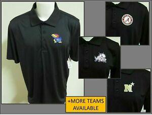 New Sz S-3XL Black Solid Ncaa Mens Polyester #66Q Golf Polo Shirt