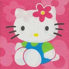 2 Serviettes en papier Cocktail Hello Kitty Chat Fleurs Paper Napkins Flower Fun