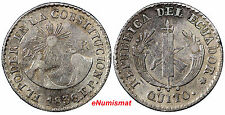 Ecuador Silver 1836  FP 2 Reales QUITO 1st Issue of Independent RARE KM# 18