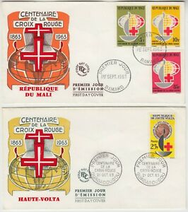 1963 RED CROSS centenary official illustrated FDCs for *MALI* & *UPPER VOLTA*