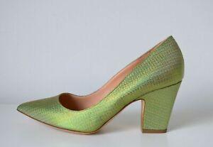 Rupert Sanderson Green glittered canvas Heel pumps UK6.5/EU39.5 RRP £495
