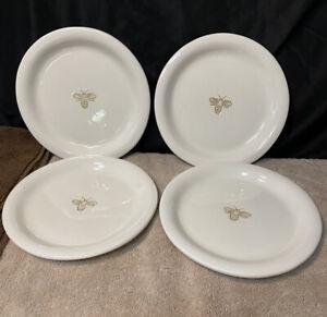 "Set Of 4 Pottery Barn Bee Lucheon Plates Garden Salad 8"""