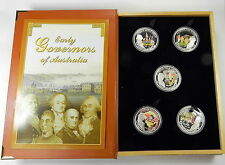 2008 $1 EARLY GOVERNORS OF AUSTRALIA 5 COIN  1OZ SILVER PROOF SET