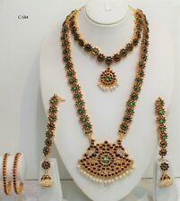 Indian bollywoodSouth Indian temple jewellery Bharatanatyam necklace with bangle