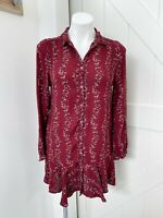 Free People Women's Burgundy Red Floral Long Sleeve Button Down Shirt Dress S