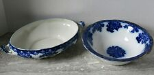 2 Pieces Flow Blue New Wharf Pottery Waldorf Pattern Vegetable Serving Bowl