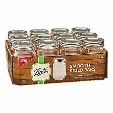 Ball 1440061501 Smooth Sided Regular Mouth Jars, Pint, 12/Box