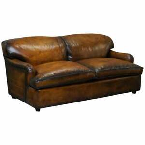 RARE HOWARD ARM RESTORED CIGAR BROWN LEATHER SOFABED FEATHER FILLED CUSHIONS