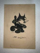 Pat sullivan watercolor drawing on paper signed and stamped hand carved