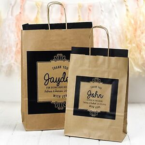 PERSONALISED WEDDING GIFT BAGS | KRAFT ORNATE | PAPER BAG FAVOURS WITH TISSUE