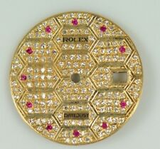 18K GOLD DIAMOND PAVE DIAL WITH RUBY MARKERS FOR ROLEX 18038 18238 CAL.3055 3155