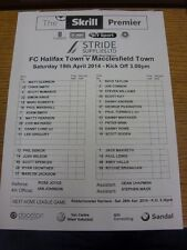 19/04/2014 Teamsheet: FC Halifax Town v Macclesfield Town (folded). Bobfrankande