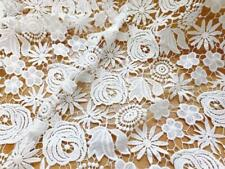 White Hollow Rose Floral Embroidered Guipure Lace Fabric French Bridal Dress 1YD