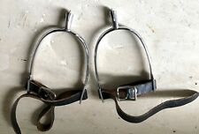 Vintage English Spurs with Mild Rowels & Straps, Never Used, Made in Germany