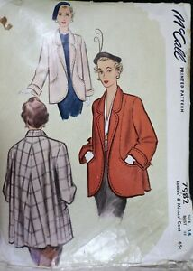 Vtg 1950s McCall 7982 Flare Back Swing Clutch Coat Jacket SEWING PATTERN size 14