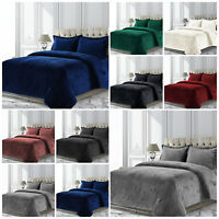 Crushed Velvet Quilt Duvet Cover Set Single Double King Super King Size Bedding