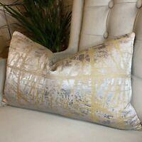 John Lewis & Partners Kyla Cushion Cover, Grey Gold Designer Home Interiors