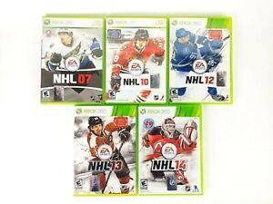 5pk Lot Microsoft Xbox 360 NHL Hocky 07 10 12 13 14 EA Sports