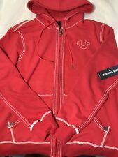 True Religion Jeans New Mens 2XL XXL Big T Hoodie Sweatshirt Jacket Red $169