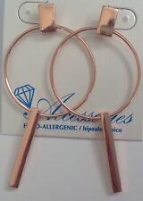 Pierced Earrings Dangling Gold Circle & Bar Lightweight Hypo Allergenic