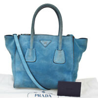Authentic PRADA MILANO 2Way Shoulder Hand Bag Suede Leather Blue Italy 62MC398