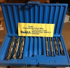 "DoALL N/C 7pc Double END MILL LOT 1/4 & 1/2"" 2 & 4 FL Machinist Milling Tool Set"