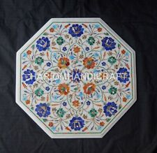 """18"""" Marble Coffee Corner Table Top Mosaic Marquetry Inlaid Home Decorative Arts"""