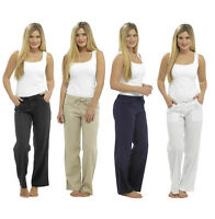 Ladies Womens Linen Trousers Casual Summer Bottoms Summer Holiday Pants Wide Leg