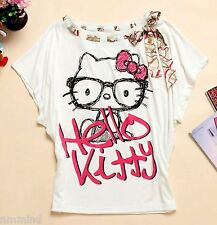 Women Hello Kitty Batwing T-Shirt with Removable Scarf-Strap (Size L)