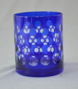 "Cobalt Blue Cut to Clear Polka Dot Tumbler 3"" Tall Holds 6 oz"