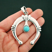 Horseshoe Pendant Charm Antique Silver Tone with Faux Turquoise Stone - SC6724