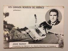 RARE CARTE PHOTO JEAN SUNNY CHAMPION DU MONDE DE HAUTE VOLTIGE AUTOMOBILE