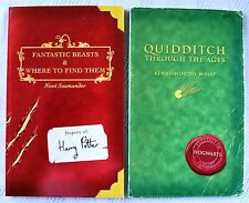 HARRY POTTER 2 SCHOOL BOOKS QUIDDITCH & FANTASTIC BEASTS,  UK FIRST EDITION 1ST