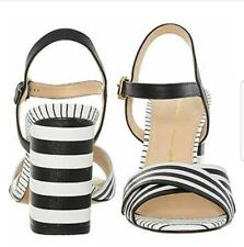 NEW MODA IN PELLE BLACK AND WHITE HEELED SANDALS