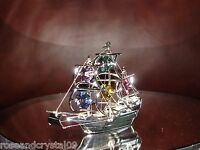 SHIP~SILVER PLATED FIGURINE ADORNED USING SWAROVSKI CRYSTAL ELEMENTS