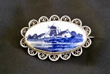 Vintage Delft and Sterling Silver Oval Windmill Brooch/Pin from Holland-signed