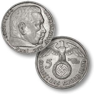 1936-1939 .900 Silver German Third Reich 5 Reichsmark Hindenburg Swastika Coin