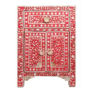 Maya Mother of pearl Bedside cabinet Lamp table Red (MADE TO ORDER)