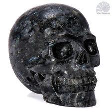 "Gemstone Crystal Skull (Astrophyllite) 2.0"" Hand Carved Reiki Chakra Healing #01"